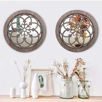 Wall Clocks Modern Simple Wall-Mounted Decoration With Mirror Round Wooden Retro Hanging Ornament For Home Living Room HKS99