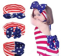 Neonata US Bandiera Blodia Bunny Ear Bow Bowbands Bambini Bambini Bambini National Day Cross Knot Accessori per capelli Accessori per capelli Hairbands Girl Bowknot Headwear KHA493