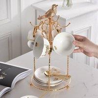 Hooks & Rails Creative Iron Mug Shelf Simple Gold Household Tea Cup Upside Down Storage Coffee Dish