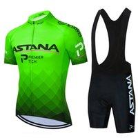 Tour de France 2021 Pro Team Astana Велоспорт Джерси Набор Летний Дышащий с коротким рукавом Велоспорт Одежда 9D Гель Мягкий Корпоративный костюм