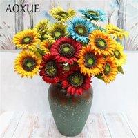Teste europee girasoli simulazione fiori finti fiori autunno retrò bouquets sole fiore decorazione domestica decorazione artificiale corone decorativo