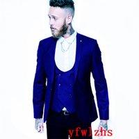 Handsome Groomsmen One Button Groom Tuxedos Peak Lapel Men Suits Wedding Prom Dinner Man Blazer (Jacket+Pants+Tie+Vest) w616