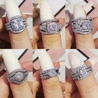 2021 تصميم فاخر 3 قطع 3 في 1 925 فضة وسادة خطوبة خاتم الزواج مجموعة للنساء مجوهرات الزفاف R4308