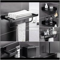 Acessório Banheiro Home Jardim Gota entrega 2021 Preto Liga de Alumínio Acessórios de Banheiro Conjunto de Papel higiênico Toalheiro Prateleira Escova de Pincel
