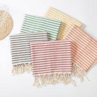 Toalla Playa turca con borlas Baño de rayas de algodón de poliéster para mujer Baño Cojín del océano Mantel de picnic