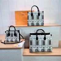 Ontho MM Architettura Tragetaschen Schwarz Weiß Fornasetti Business Handtasche Kreuz Body Bag M59264 unterwegs