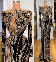 Evening dress Yousef aljasmi Kim kardashian Gold Appliques Embroidery Mermaid Long sleeve Crystal Black Zuhair murad Ziadnakad 0017
