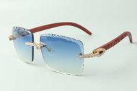 2021 عدسة عدسة لا نهاية لها الماس النظارات الشمسية 3524020، النمر معابد خشبية النظارات، الحجم: 58-18-135mm