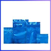 Multi-tailles bleues brillantes glossy serrure mylar sacs d'emballage 100pcs / lot bas plat en aluminium feuille d'emballage d'emballage des deux côtés sont une couleur unie