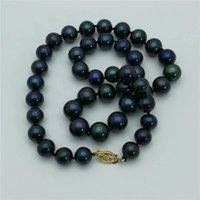 Стремясь + 10-11 мм натуральный павлин зеленый синий круглый жемчужное ожерелье 18 дюймов 14k, 100% цепи
