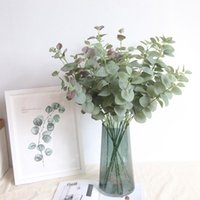 Artificial Leaves Branches Simulation Plant Eucalyptus Large Bouquet Plastic Home Decoration Green Single Fake Money Grass Decorative Flower