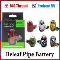 100% Kit de bateria de tubos de belo e bielet 6 cores design de madeira Vape Pen Cigarro 510 Tópico 900mAh Recarregável Pré-aqueça Variável Voltagem