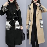 Womens Oversize Lapel Cashmere Wool Blend Belt Trench Coat Outwear Jacket 2021 Warm Windproof Overcoat Cappotto Da Donna#3 Women's & Blends