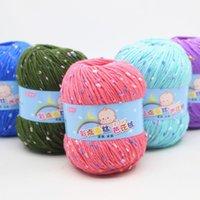 Filetage de laine à tricoter de coton doux de 50g de lait de coton doux pour le crochet de la laine de coton Aiguilles au crochet des files et des laines