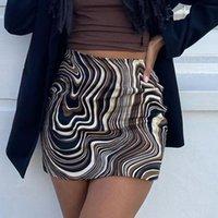 Skirts Wrap Hip Skirt Lady Sexy High-waist Water Ripple Print Tight-fitting Short 2021 Summer Casual Woman Slim Mini Half