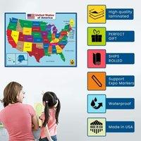 Mapa de Estados Unidos Mapa de la pared Cartel de la pared Aula Kinder Decoration para niños -Dobles Secto Educativo Educativo Etiquetas engomadas impermeables