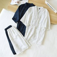 Men's Sleepwear Short Sleeve Robe&Shorts Summer Cotton 2PCS Pajamas Suit Japanese Kimono Nightwear Casual Print Home Wear