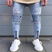 رجل مصمم جينز طيات هول سستة تصميم مرونة غسلها الرجعية عالية الشارع الأزياء الدنيم السراويل ممزق الأسياذ دراجة نارية