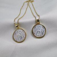 Натуральная жемчужная оболочка ангела кулон ожерелье для женщин моды колье ювелирных изделий ожерелья