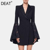 Waist Double Brea Blazers DEAT 2021 Spring And Summer Fashion Women Clothes Notched Collar Flare Sleeves Lace Patchwork High Women's Suits &