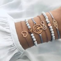 Modyle 6pcs / set Bohemian Gold Color Bead pulseras Set para mujer árbol corazón tortuga infinito cadena pulseras brazaletes