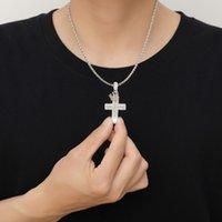 Bling Cubic zircon Jesus Cross necklace jewelry set diamond hip hop 18k gold Drop Crosses Crown pendant necklaces women men Fash