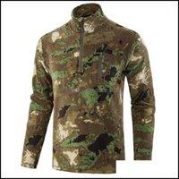 Носите спортивную одежду на открытом воздухе OutdoorsOtoutdoor T-рубашки Esdy Flece теплые футболки мужчины осень зима камуфляж спортивные тренировочные армии тактические