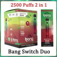 Новый Bang XXL Switch Duo Одноразовые VAGES PEN-Устройство POD E Прикуривая Комплект 2500 Средства 7 мл 1100 МАХ 6% Масляные Стручки против Flum