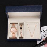 Armbanduhren Zonmfei Quarz Uhren Frauen 3 stücke Sets Edelstahl Armband / Halskette Geschenkbox Set Lady Kleid Design