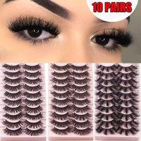 False Eyelashes 10Pairs 25mm Cruelty-free Handmade Natural Long Eye Extension Mink Hair Fluffy Wispies Dramatic