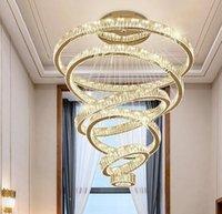 Lüks Oturma Odası Modern Avize Aydınlatma Büyük Merdiven LED Kristal Lamba Ev Dekorasyon Cristal Luster Aydınlatma Armatürleri