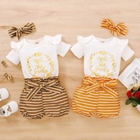Toddler Clothing Sets Girls Outfits Baby Clothes Kids Suits Summer Letter Print Short-Sleeved Romper Top Jumpsuit Striped Printed Shorts Headbands 3Pcs B6209