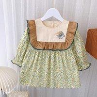 Girl's Dresses 2021 Spring Autumn Long-Sleeved Floral Dress Lotus Leaf Decoration Girl Clothing Children's Kid Clothes