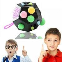 12-seitige Zappel Cube Spinner Schreibtisch Spielzeug Kinder Angst Erwachsene Stress Reliefwürfeln 210330