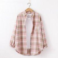 Women's Blouses & Shirts Cotton Plaid Shirt Women Long Sleeve Autumn And Winter Top Loose Korean Fashion Womens