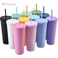 ABD Stok 22 oz eziyet arentaoca sıska kupa kahve fincanı mühür kapak saman düz bardaklar plastik yalıtımlı şişe MT12