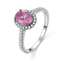 Cluster Ringe 2ct Oval Luxus Ausgezeichnete Synthetische Rosa NSCD Bridal Ring Sterling Silber Schmuck Geburtstag 750 Weißgold Abdeckung