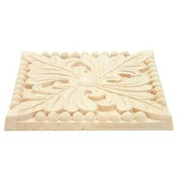 Pegatinas de pared Apliques de madera natural Plaza Flower Tallado Calcomanías decorativas Molduras de madera para gabinete Muebles de muebles Decoración Artesanía