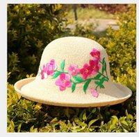 Tidal Seaside OutdoorFashionable Cinese ricamo fiore etnico stile arricciato bordo cotone canapa solare sabbia cappello per lavabo