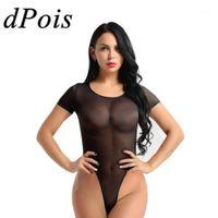 DPOIS One Piece Bodyysuit Женщины Сексуальный костюм для тела Женский Эротический Тедди Смотреть через Romsers Женский комбинезон с коротким рукавом Секс Costumes1