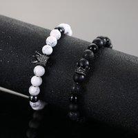 Handgemachte Schmuck Großhandel Perlen Armband Schwarze Krone Schwarz Zirkonium Weiße Kiefer Seil Armband Vulkanische Stein Micro Inlay Runde Perlen Krone Legierung Armband