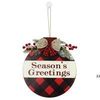 20pcs 메리 크리스마스 목조 홈 벽 도어 접시 매달려 장식 접시 붉은 과일 호손 격자 hwd10872
