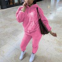 Women's Two Piece Pants Oeak Tracksuits Casual Plush Warm Fluffy Suits Long Sleeve Hooded Sweatshirt Hoodie Jogger Sporty 2 Set