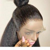 Perruques de cheveux en dentelle de la soie péruvienne Perruques de cheveux humains avec une racine de cheveux naturelle 180densité Kinky droite droite Gloupe pleine dentelle perruque Remy cheveux