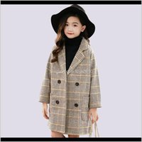 Куртки Верховая одежда Детская одежда Детская, родильная доставка 2021 зимнее пальто толстая шерстяная куртка мода плед детская верхняя одежда Осень Энглан