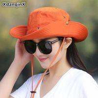 XDANQINX Складная Женская Шляпа Летняя Дышащая Дышащая Панама Ведровая Шляпа Ветер Ветер Фиксированная Регулируемая Солнцезащитный УФ Защита УФ Пляжные Шляпы
