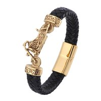 Men Leather Bracelet Man Gold Color Motorcycle Charm Magnetic Buckle Punk Male Jewelry Wrist Band Gifts BB0781 Bracelets
