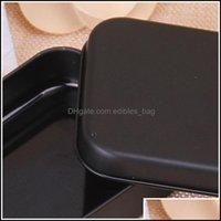 Bins HouseKee 조직 홈 Gardenrec Box 블랙 금속 컨테이너 주석 사탕 보석 카드 저장 상자 선물 포장 248 V2 Dro