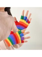 Gants enfants hiver tricoté plein demi-doigt arc-en-ciel coloré rayé de mitaines