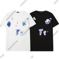 21ss Sping Summer Mens Designer Tshirts Camiseta de lujo Camiseta de las mujeres Clásico Botón de la manga de la impresión Casual algodón azul graffiti camisetas Camisetas TOPS TOPS